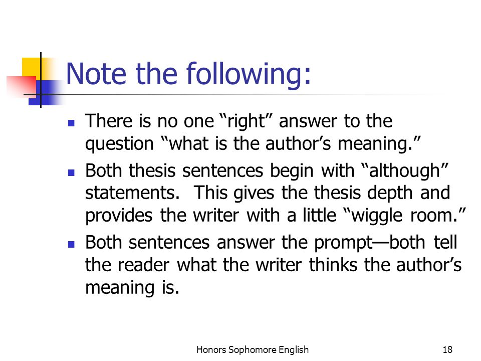 Honors Sophomore English18 Note the following: There is no one right answer to the question what is the author's meaning. Both thesis sentences begin with although statements.