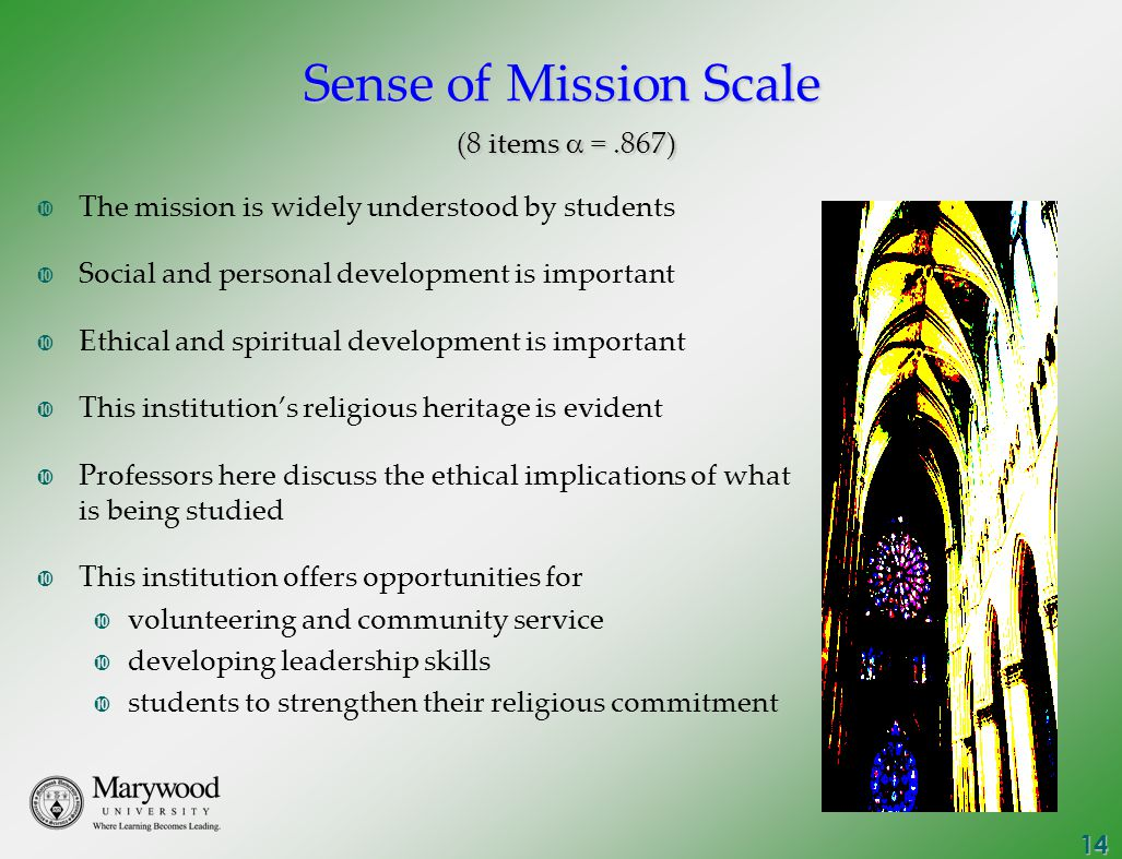 14 Sense of Mission Scale (8 items  =.867)  The mission is widely understood by students  Social and personal development is important  Ethical and spiritual development is important  This institution's religious heritage is evident  Professors here discuss the ethical implications of what is being studied  This institution offers opportunities for  volunteering and community service  developing leadership skills  students to strengthen their religious commitment