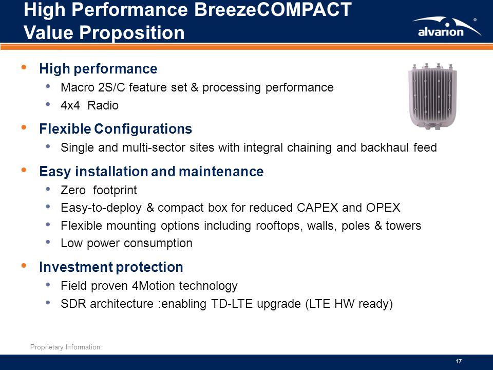 Proprietary Information. 17 High Performance BreezeCOMPACT Value Proposition High performance Macro 2S/C feature set & processing performance 4x4 Radi