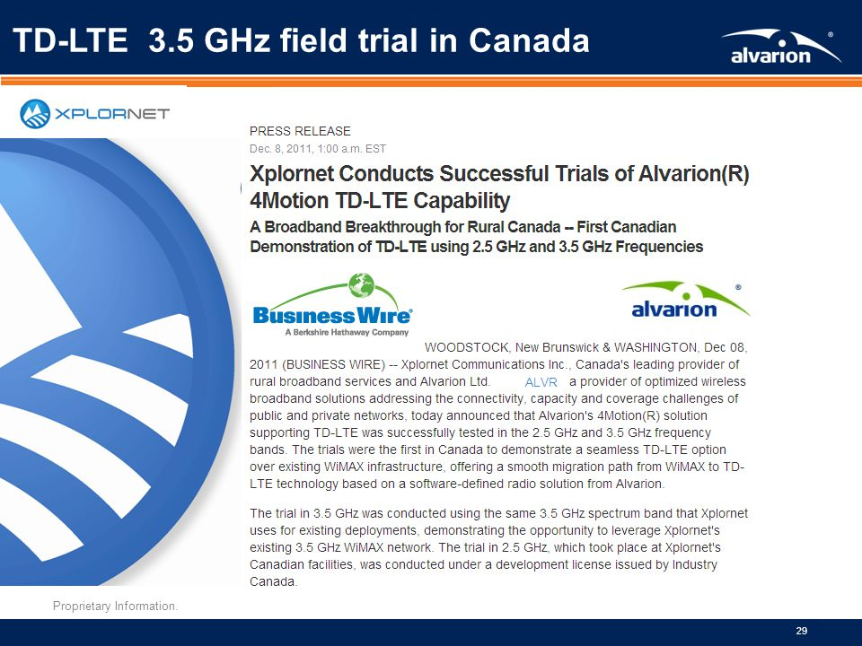 Proprietary Information. 29 ALVR TD-LTE 3.5 GHz field trial in Canada