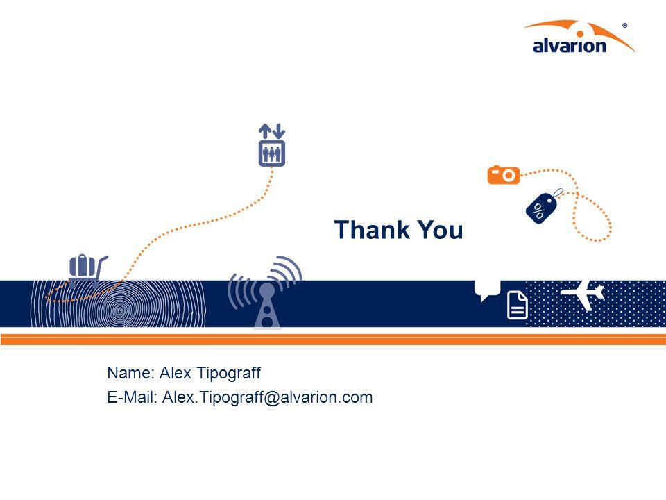 Proprietary Information. 39 Thank You Name: Alex Tipograff E-Mail: Alex.Tipograff@alvarion.com 39