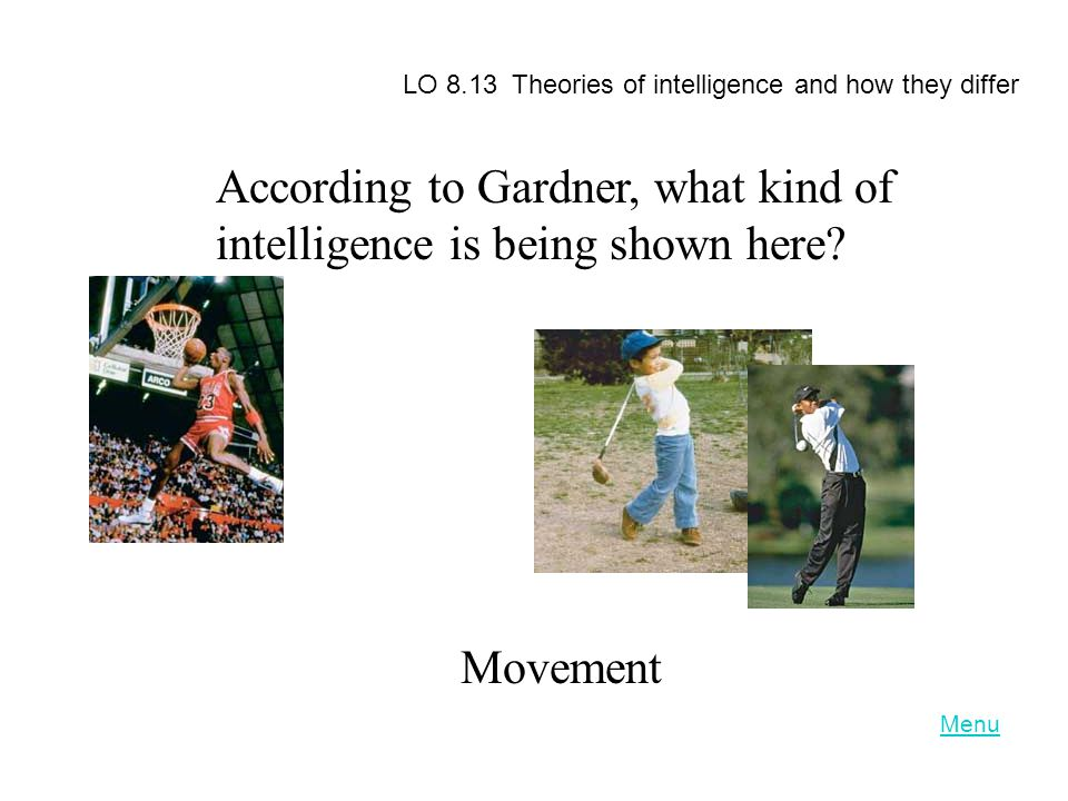 According to Gardner, what kind of intelligence is being shown here? Movement LO 8.13 Theories of intelligence and how they differ Menu