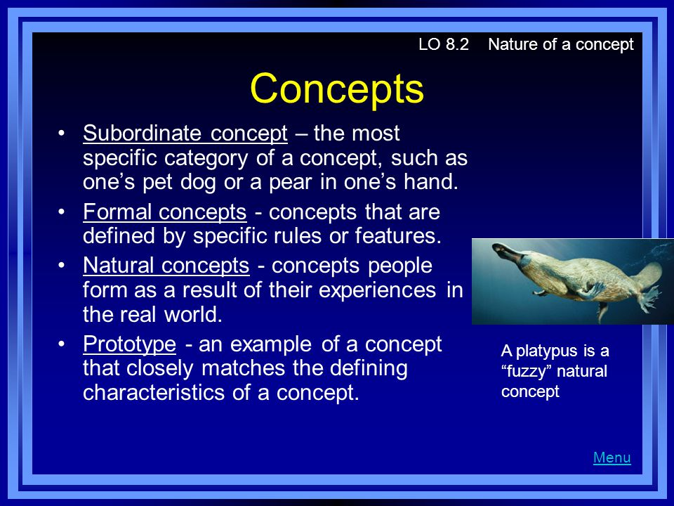 Concepts Subordinate concept – the most specific category of a concept, such as one's pet dog or a pear in one's hand. Formal concepts - concepts that