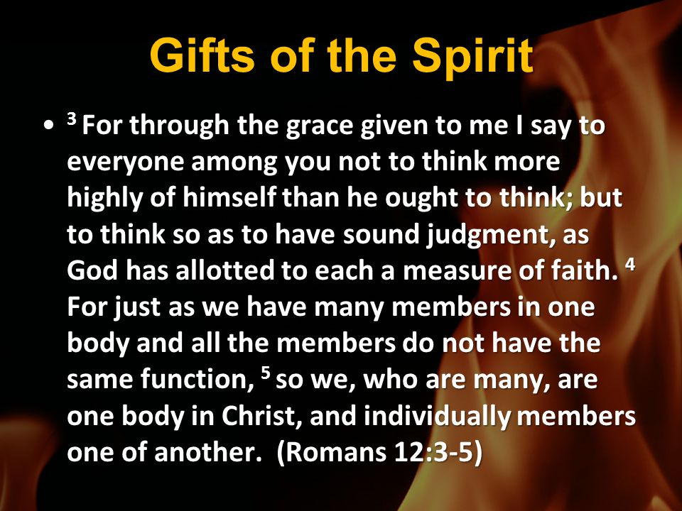 Gifts of the Spirit 3 For through the grace given to me I say to everyone among you not to think more highly of himself than he ought to think; but to