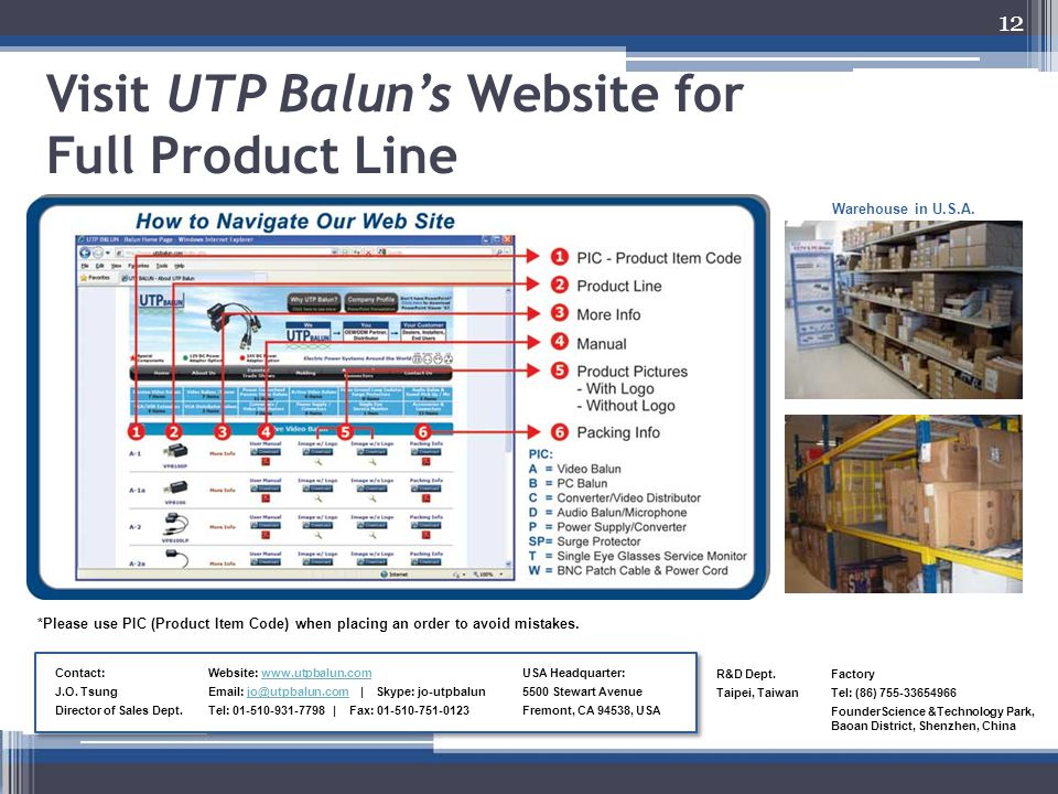12 Visit UTP Balun's Website for Full Product Line Contact: J.O. Tsung Director of Sales Dept. *Please use PIC (Product Item Code) when placing an ord
