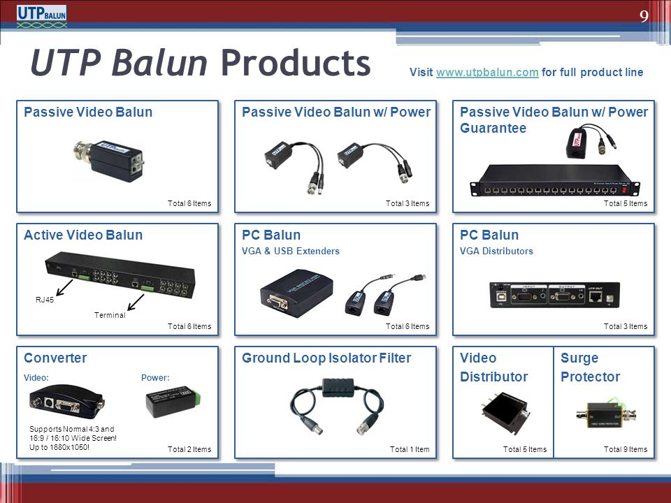 Active Video Balun Converter PC Balun VGA & USB Extenders Ground Loop Isolator Filter PC Balun VGA Distributors Passive Video Balun UTP Balun Products
