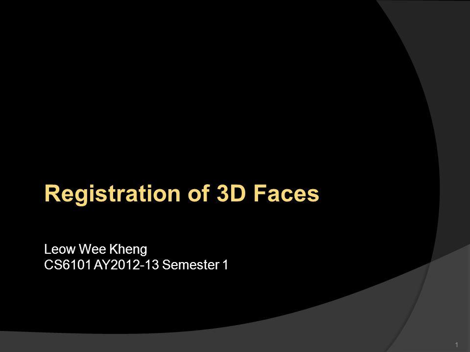 1 Registration of 3D Faces Leow Wee Kheng CS6101 AY2012-13 Semester 1