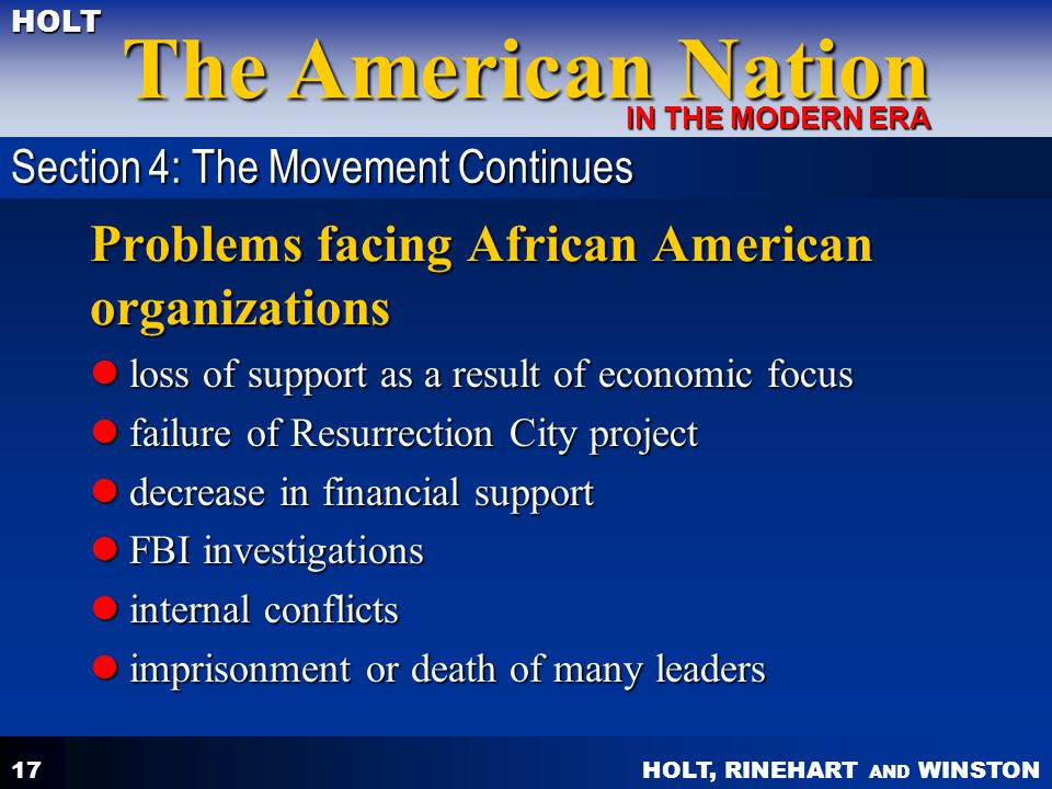 HOLT, RINEHART AND WINSTON The American Nation HOLT IN THE MODERN ERA 17 Problems facing African American organizations loss of support as a result of