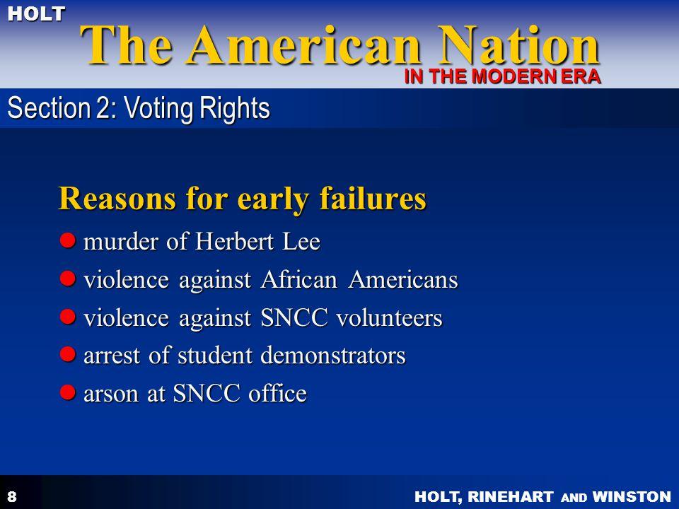 HOLT, RINEHART AND WINSTON The American Nation HOLT IN THE MODERN ERA 8 Reasons for early failures murder of Herbert Lee murder of Herbert Lee violenc