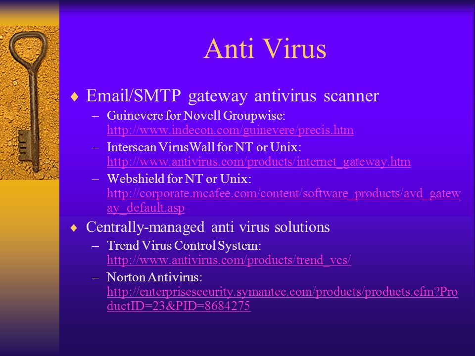 Anti Virus  Email/SMTP gateway antivirus scanner –Guinevere for Novell Groupwise: http://www.indecon.com/guinevere/precis.htm http://www.indecon.com/guinevere/precis.htm –Interscan VirusWall for NT or Unix: http://www.antivirus.com/products/internet_gateway.htm http://www.antivirus.com/products/internet_gateway.htm –Webshield for NT or Unix: http://corporate.mcafee.com/content/software_products/avd_gatew ay_default.asp http://corporate.mcafee.com/content/software_products/avd_gatew ay_default.asp  Centrally-managed anti virus solutions –Trend Virus Control System: http://www.antivirus.com/products/trend_vcs/ http://www.antivirus.com/products/trend_vcs/ –Norton Antivirus: http://enterprisesecurity.symantec.com/products/products.cfm Pro ductID=23&PID=8684275 http://enterprisesecurity.symantec.com/products/products.cfm Pro ductID=23&PID=8684275