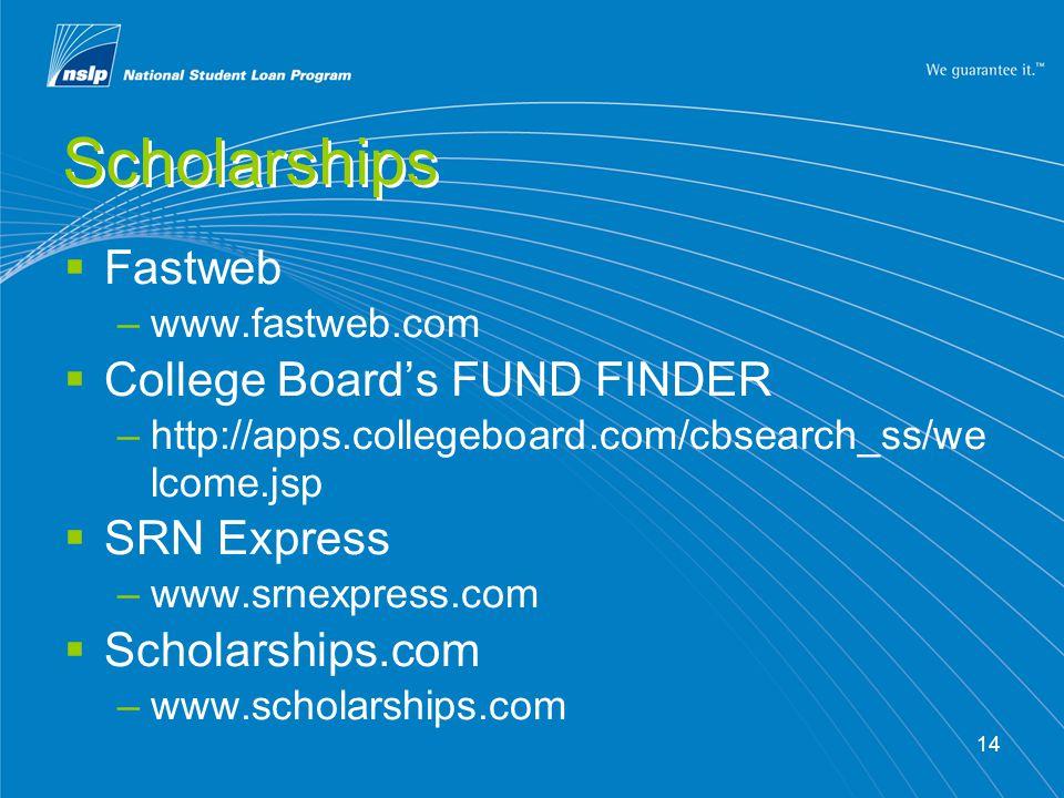 14 Scholarships  Fastweb –www.fastweb.com  College Board's FUND FINDER –http://apps.collegeboard.com/cbsearch_ss/we lcome.jsp  SRN Express –www.srnexpress.com  Scholarships.com –www.scholarships.com