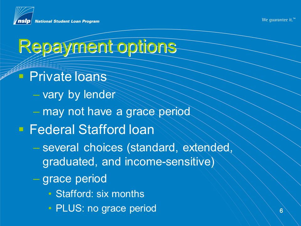 6 Repayment options  Private loans –vary by lender –may not have a grace period  Federal Stafford loan –several choices (standard, extended, graduated, and income-sensitive) –grace period Stafford: six months PLUS: no grace period