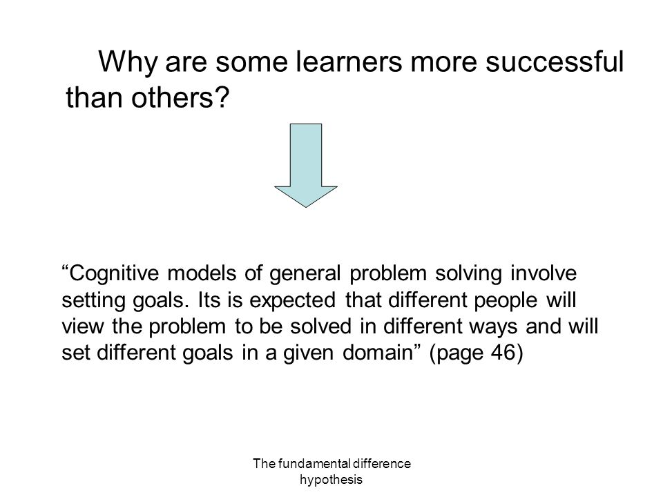 The fundamental difference hypothesis Why are some learners more successful than others.