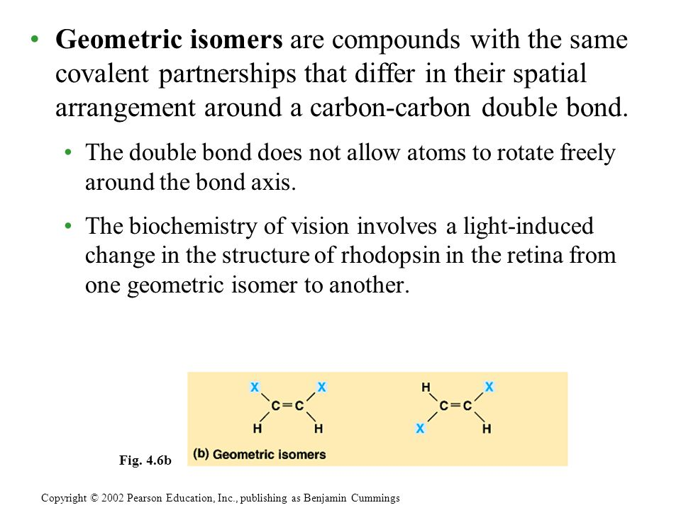Geometric isomers are compounds with the same covalent partnerships that differ in their spatial arrangement around a carbon-carbon double bond.