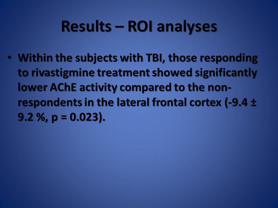 Results – ROI analyses Within the subjects with TBI, those responding to rivastigmine treatment showed significantly lower AChE activity compared to t