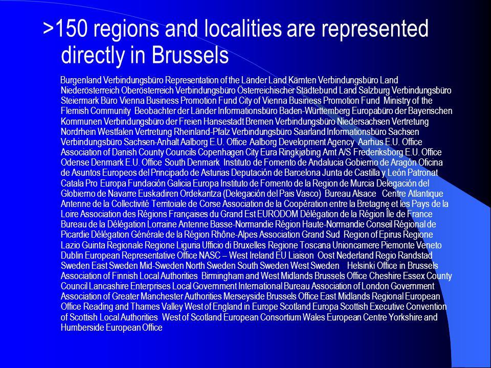 >150 regions and localities are represented directly in Brussels Burgenland Verbindungsbüro Representation of the Länder Land Kärnten Verbindungsbüro