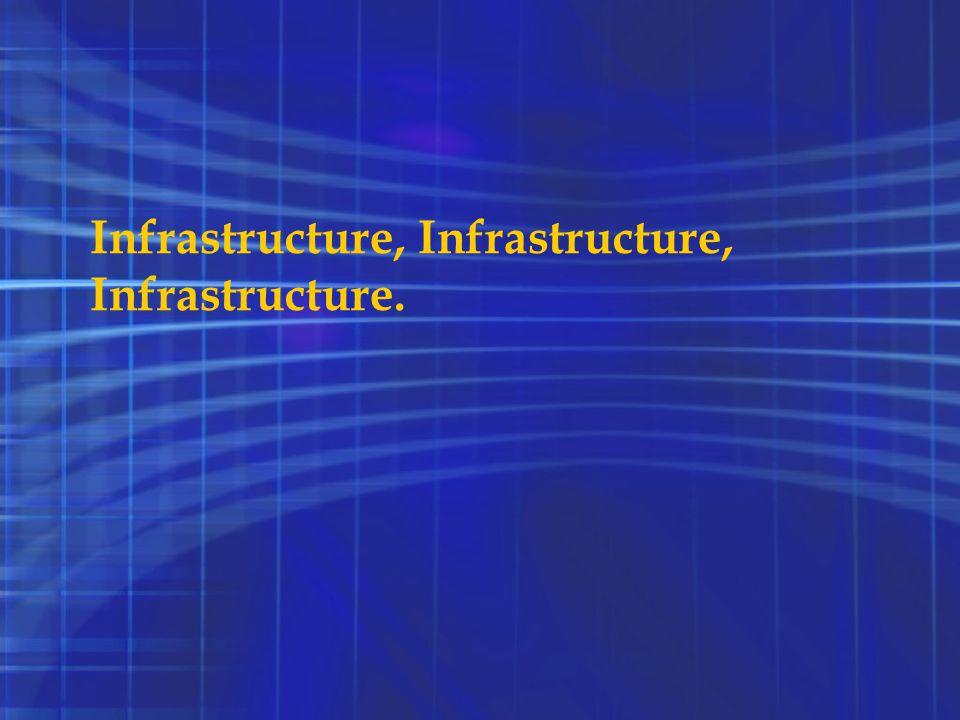 Infrastructure, Infrastructure, Infrastructure.