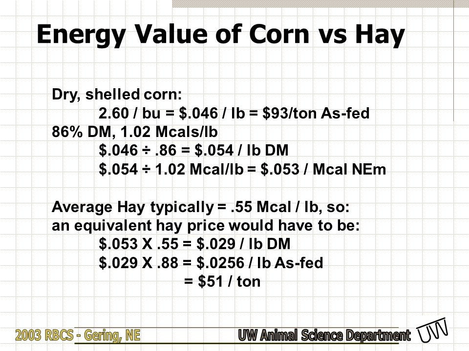Energy Value of Corn vs Hay Dry, shelled corn: 2.60 / bu = $.046 / lb = $93/ton As-fed 86% DM, 1.02 Mcals/lb $.046 ÷.86 = $.054 / lb DM $.054 ÷ 1.02 Mcal/lb = $.053 / Mcal NEm Average Hay typically =.55 Mcal / lb, so: an equivalent hay price would have to be: $.053 X.55 = $.029 / lb DM $.029 X.88 = $.0256 / lb As-fed = $51 / ton