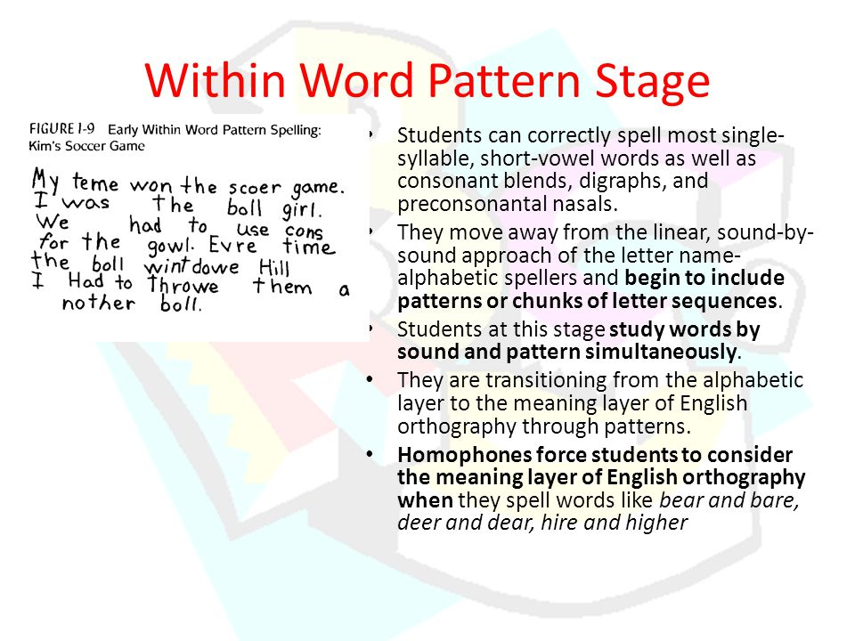 Within Word Pattern Stage Students can correctly spell most single- syllable, short-vowel words as well as consonant blends, digraphs, and preconsonantal nasals.