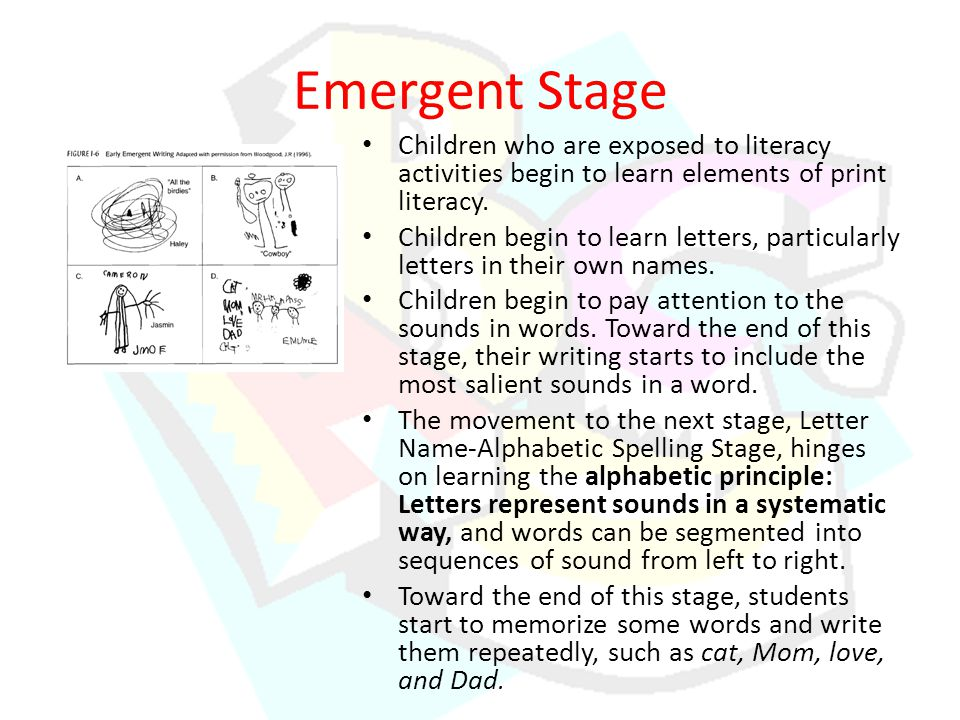 Emergent Stage Children who are exposed to literacy activities begin to learn elements of print literacy.