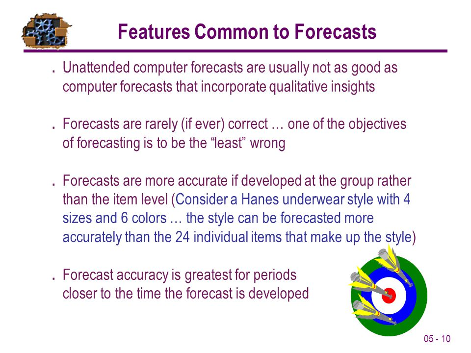 05 - 10 Features Common to Forecasts. Unattended computer forecasts are usually not as good as computer forecasts that incorporate qualitative insight