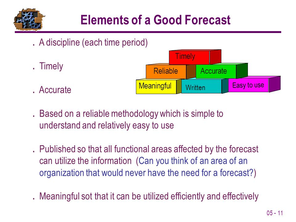 05 - 11 Elements of a Good Forecast. A discipline (each time period). Timely. Accurate. Based on a reliable methodology which is simple to understand