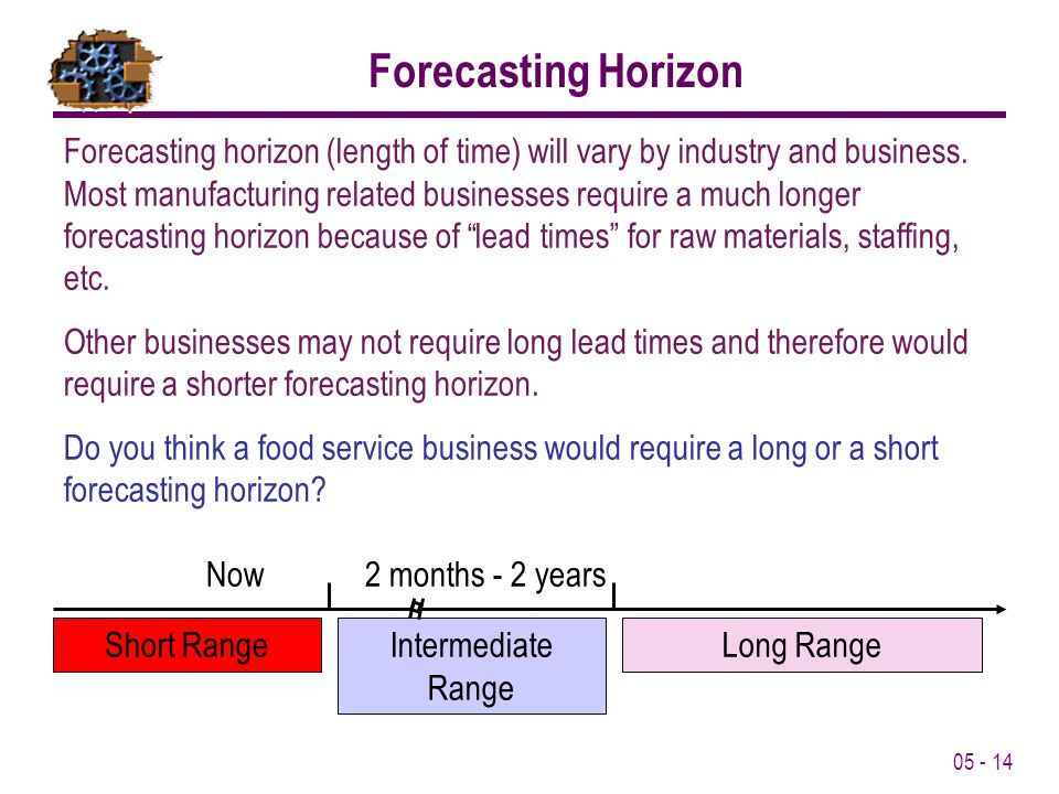 05 - 14 Forecasting Horizon Short RangeIntermediate Range Long Range Now2 months - 2 years Forecasting horizon (length of time) will vary by industry