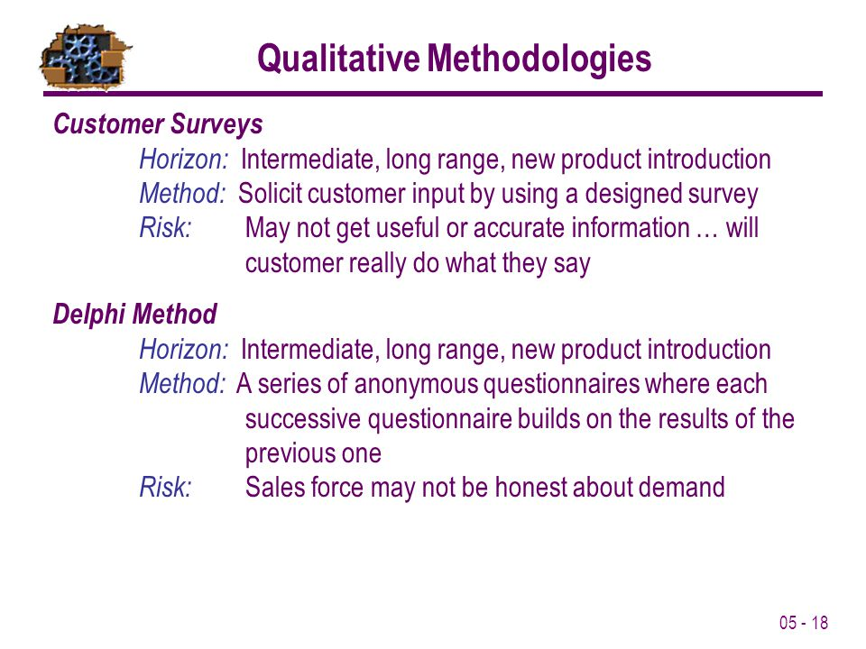 05 - 18 Customer Surveys Horizon: Intermediate, long range, new product introduction Method: Solicit customer input by using a designed survey Risk: M