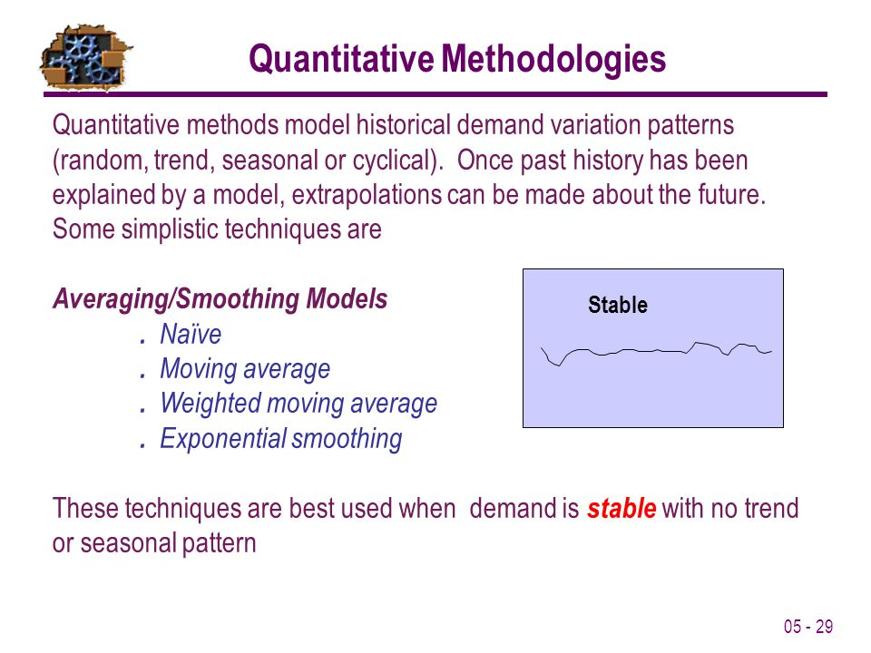 05 - 29 Quantitative Methodologies Quantitative methods model historical demand variation patterns (random, trend, seasonal or cyclical). Once past hi