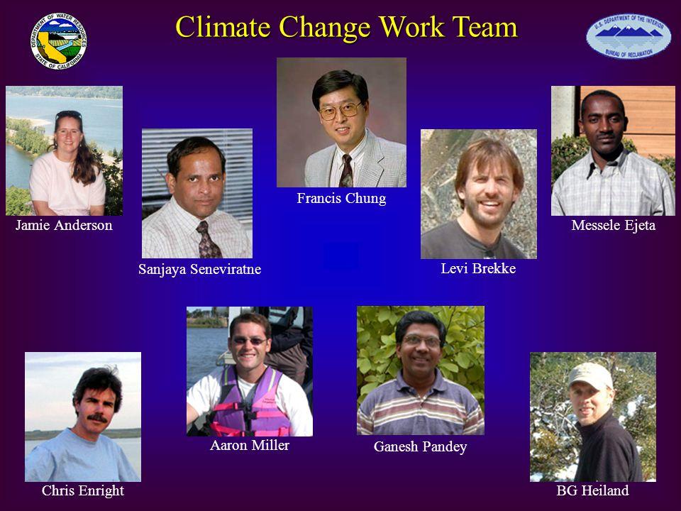 Climate Change Work Team BG HeilandChris Enright Aaron Miller Ganesh Pandey Messele EjetaJamie Anderson Levi Brekke Sanjaya Seneviratne Francis Chung
