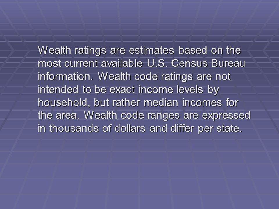 Wealth ratings are estimates based on the most current available U.S. Census Bureau information. Wealth code ratings are not intended to be exact inco