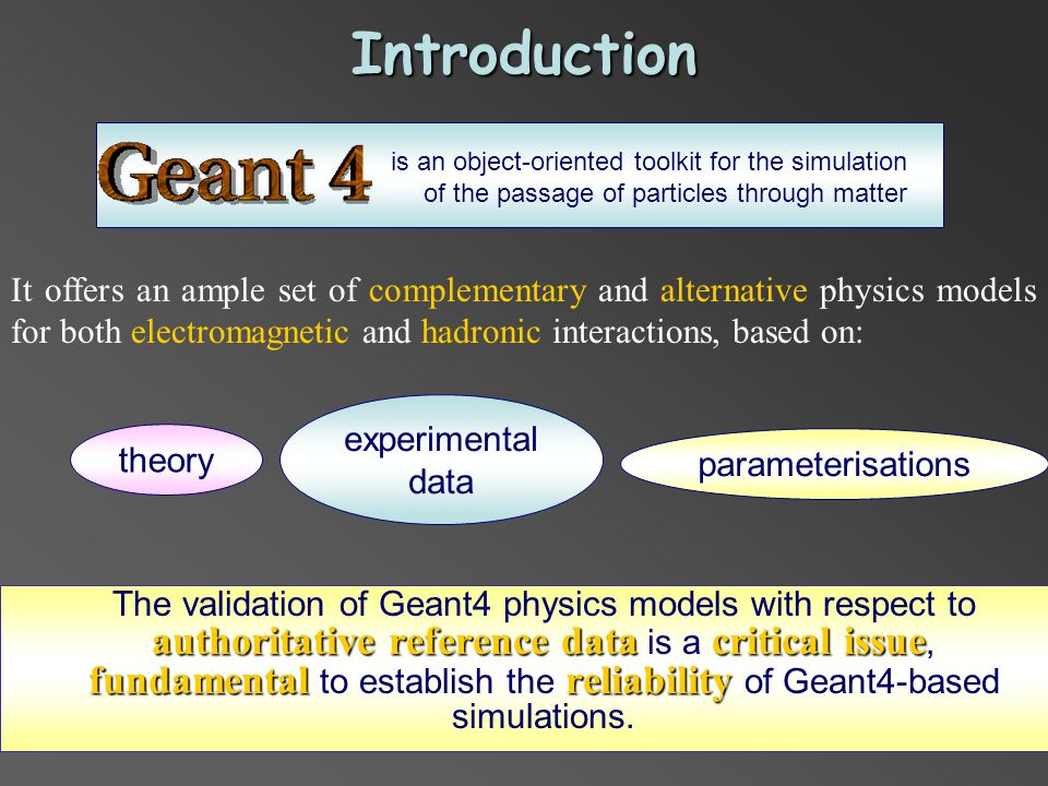 Rayleigh interaction coefficient Physics models under test: Geant4 Low Energy – EPDL Geant4 Low Energy – Penelope Reference data: NIST - XCOM The Geant4 Low Energy models seem to be in disagreement with the reference data for some materials Geant4 LowE Penelope Geant4 LowE EPDL NIST - XCOM Rayleigh interaction coefficient in Be Be0.991 Al0.32<0.05 Si0.77<0.05 Fe1<0.05 Ge<0.050.39 Ag0.360.08 Cs<0.05 Au<0.05 Pb<0.05 U EPDL XCOM Penelope XCOM 1 keV – 100 GeV