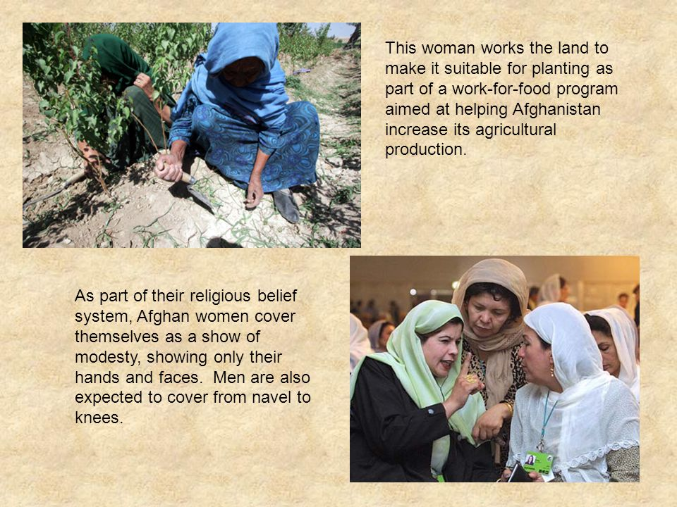 This woman works the land to make it suitable for planting as part of a work-for-food program aimed at helping Afghanistan increase its agricultural production.