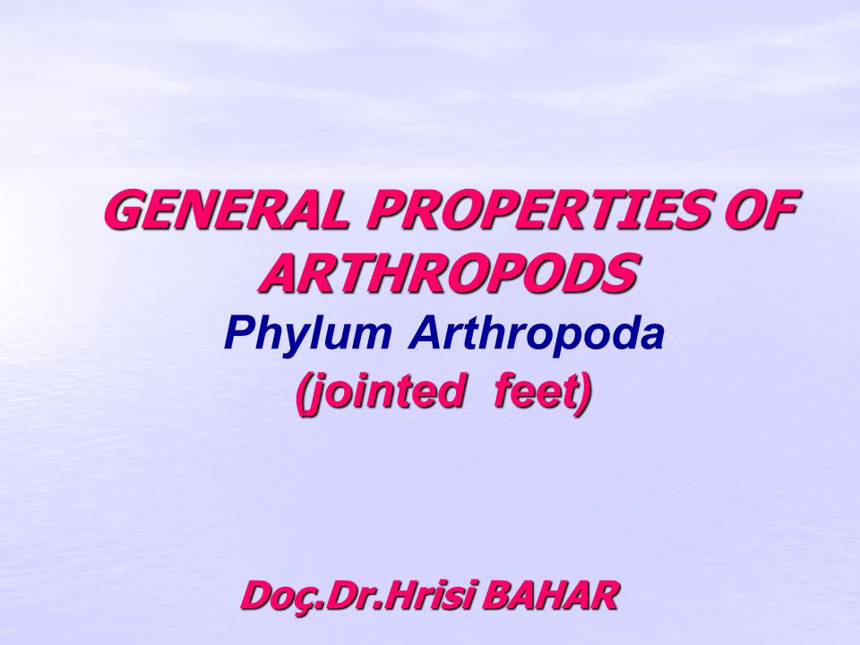 GENERAL PROPERTIES OF ARTHROPODS (jointed feet) GENERAL PROPERTIES OF ARTHROPODS Phylum Arthropoda (jointed feet) Doç.Dr.Hrisi BAHAR