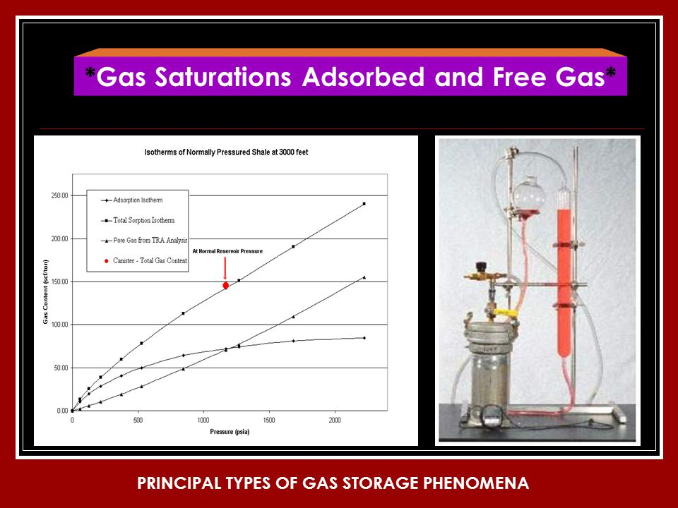 *Gas Saturations Adsorbed and Free Gas* PRINCIPAL TYPES OF GAS STORAGE PHENOMENA