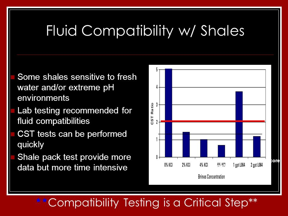 Fluid Compatibility w/ Shales Some shales sensitive to fresh water and/or extreme pH environments Lab testing recommended for fluid compatibilities CST tests can be performed quickly Shale pack test provide more data but more time intensive Sensitivity of clay control additives with a shale core sample ** Compatibility Testing is a Critical Step**