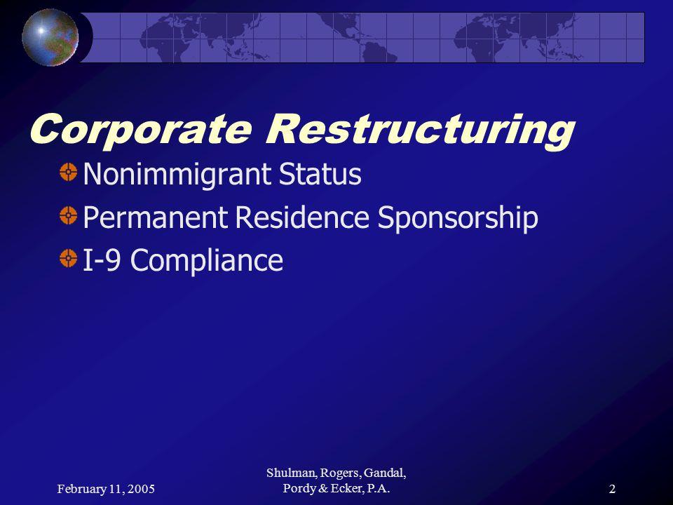 February 11, 2005 Shulman, Rogers, Gandal, Pordy & Ecker, P.A.2 Corporate Restructuring Nonimmigrant Status Permanent Residence Sponsorship I-9 Compli