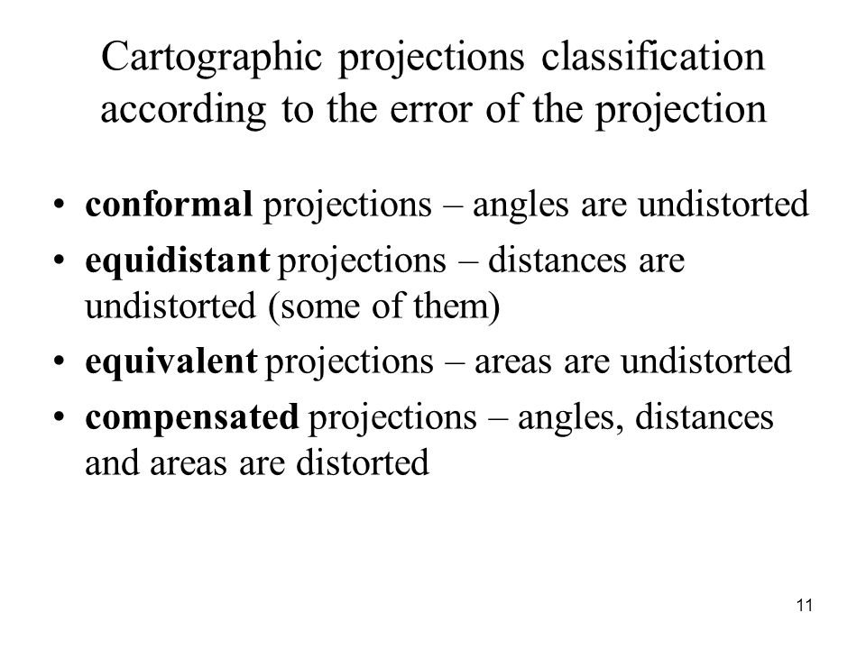 Cartographic projections classification according to the error of the projection conformal projections – angles are undistorted equidistant projection