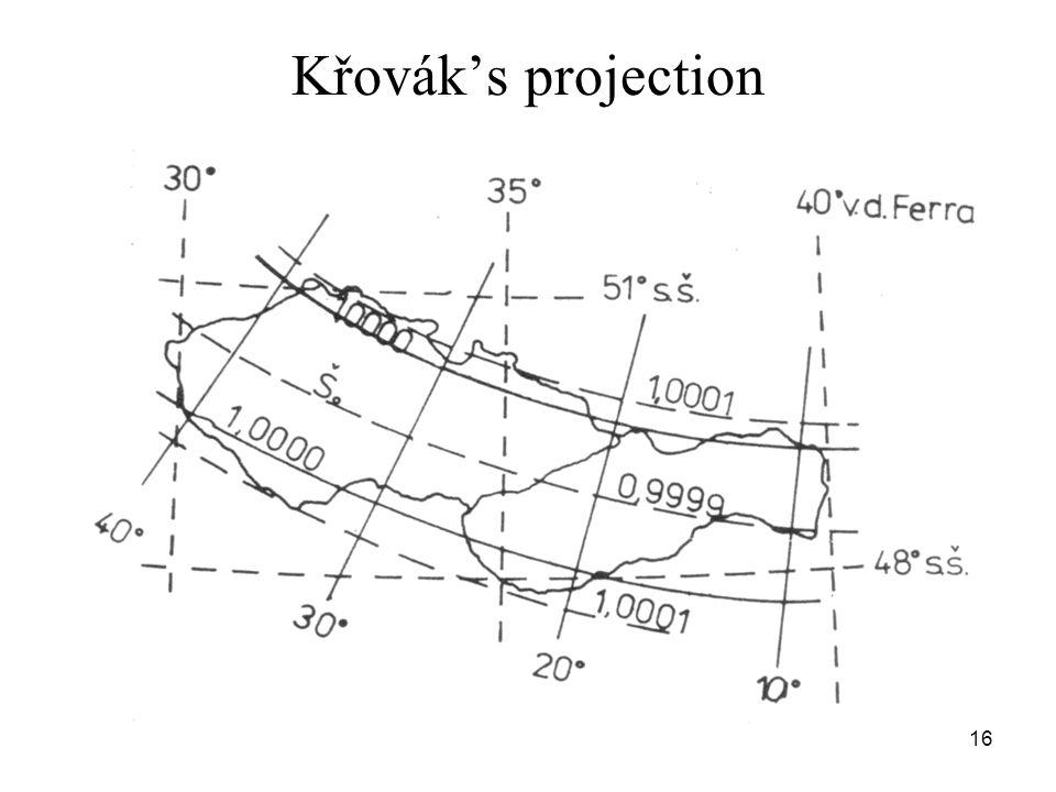 Křovák's projection 16