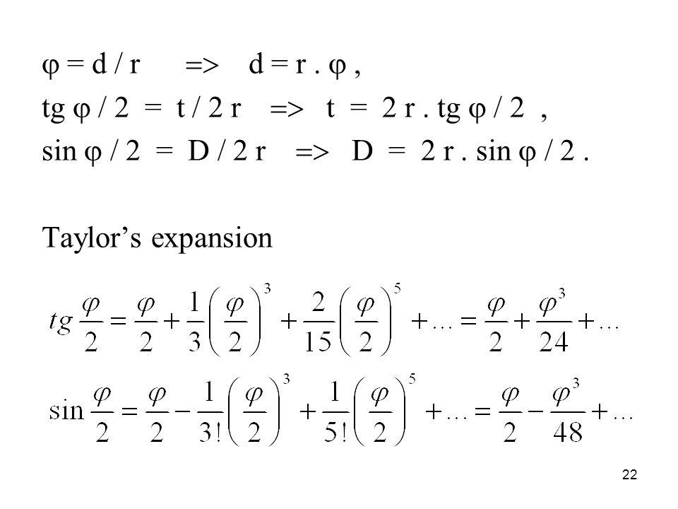  = d / r  d = r. , tg  / 2 = t / 2 r  t = 2 r.