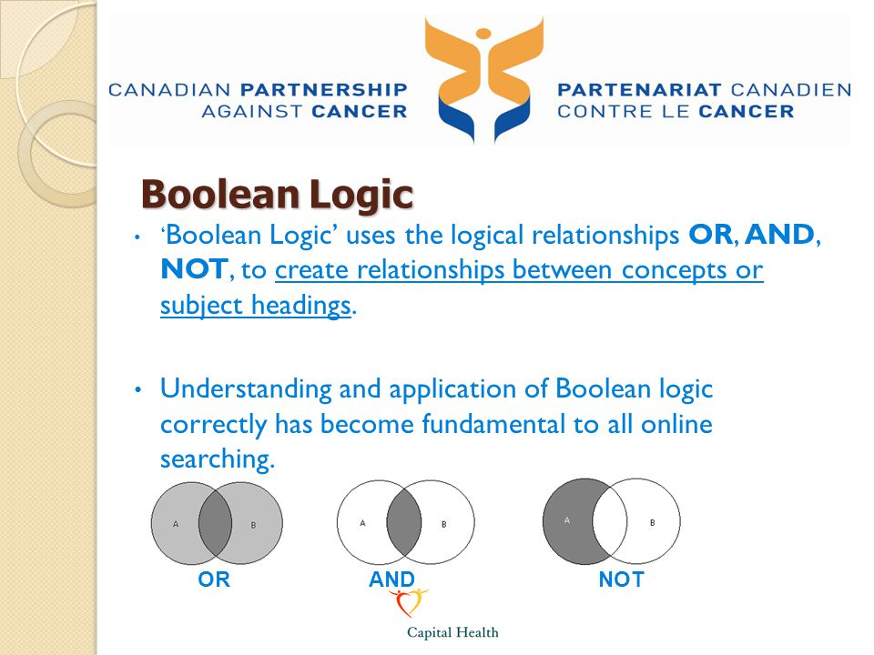 Boolean Logic ' Boolean Logic' uses the logical relationships OR, AND, NOT, to create relationships between concepts or subject headings. Understandin
