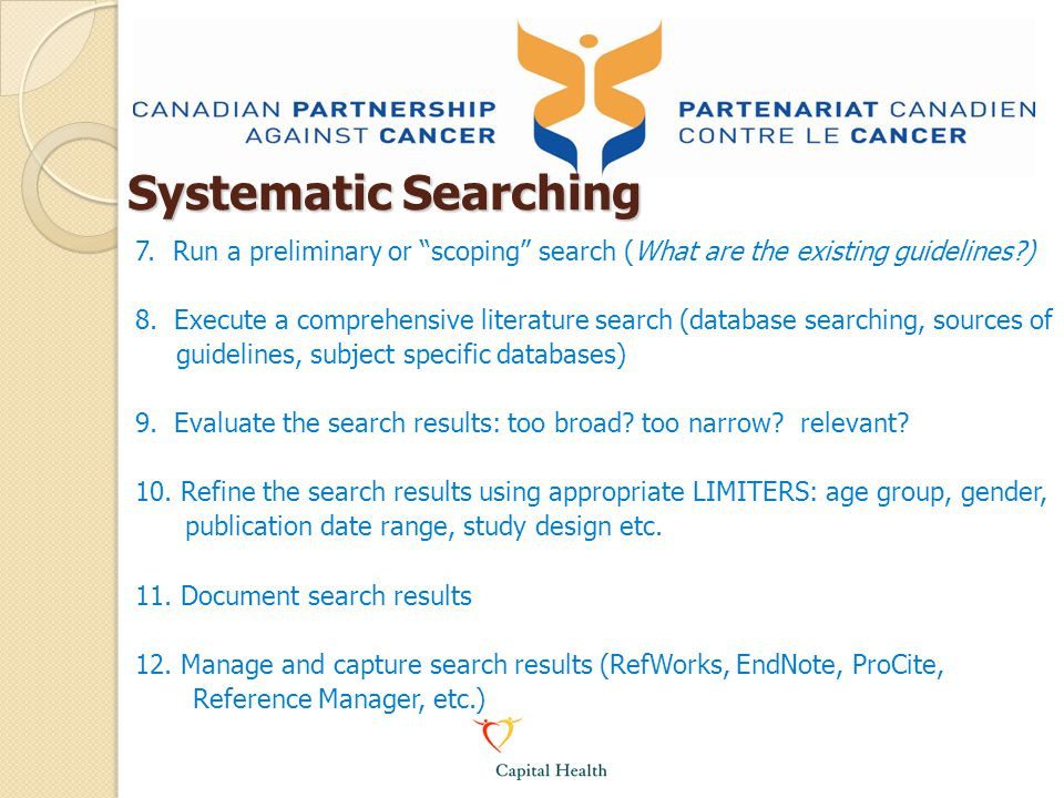 7.Run a preliminary or scoping search (What are the existing guidelines?) 8.