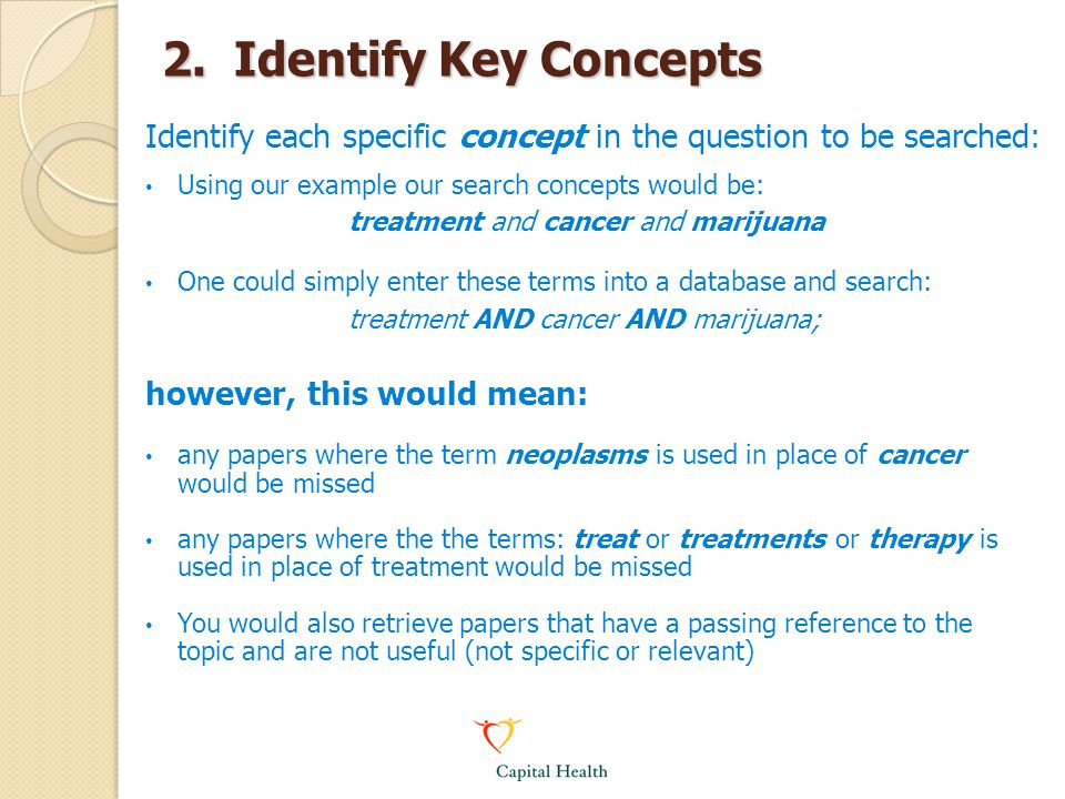 2. Identify Key Concepts Identify each specific concept in the question to be searched: Using our example our search concepts would be: treatment and