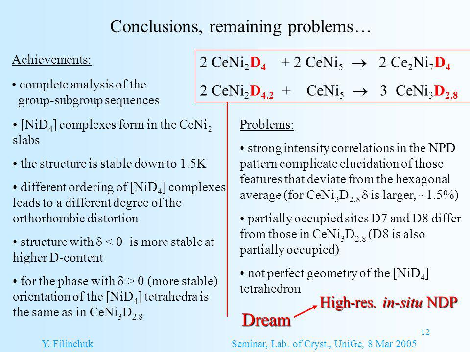 12 Conclusions, remaining problems… Y. Filinchuk Seminar, Lab.