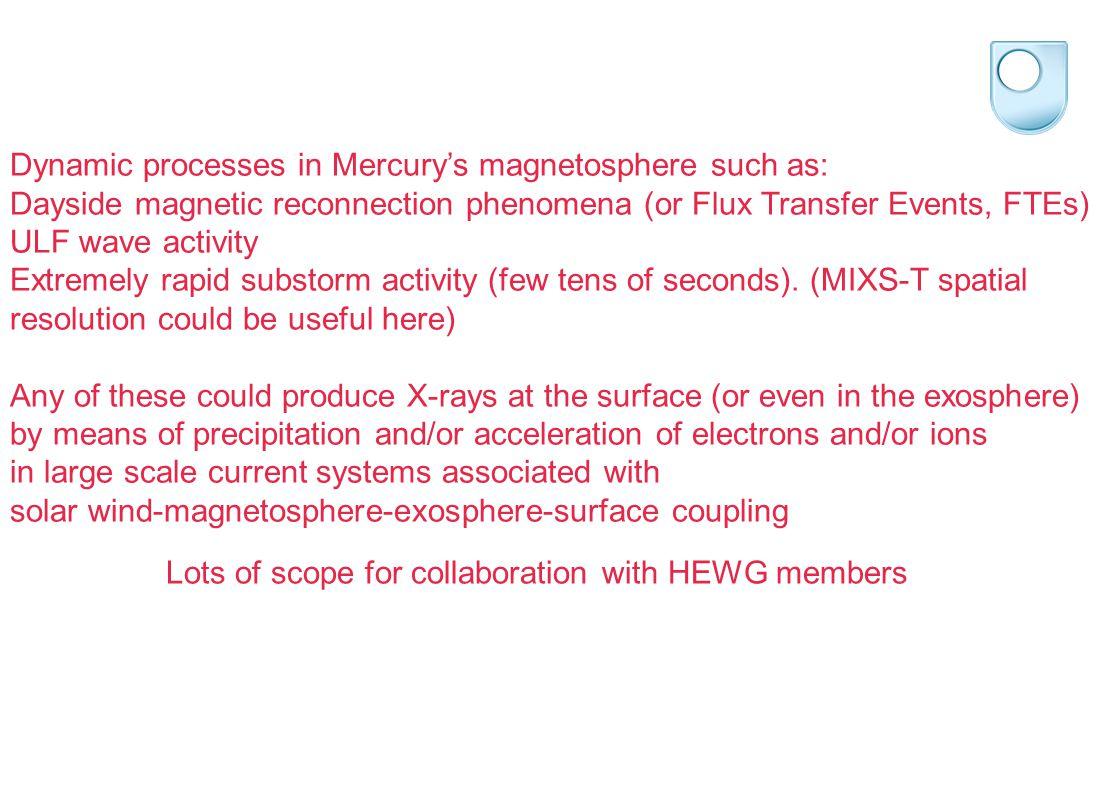 Dynamic processes in Mercury's magnetosphere such as: Dayside magnetic reconnection phenomena (or Flux Transfer Events, FTEs) ULF wave activity Extremely rapid substorm activity (few tens of seconds).
