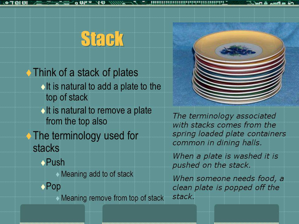 Stack  Think of a stack of plates  It is natural to add a plate to the top of stack  It is natural to remove a plate from the top also  The terminology used for stacks  Push  Meaning add to of stack  Pop  Meaning remove from top of stack The terminology associated with stacks comes from the spring loaded plate containers common in dining halls.