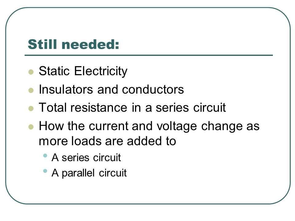 Still needed: Static Electricity Insulators and conductors Total resistance in a series circuit How the current and voltage change as more loads are a