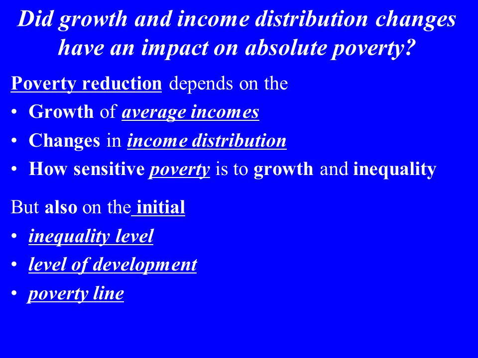 Did growth and income distribution changes have an impact on absolute poverty.