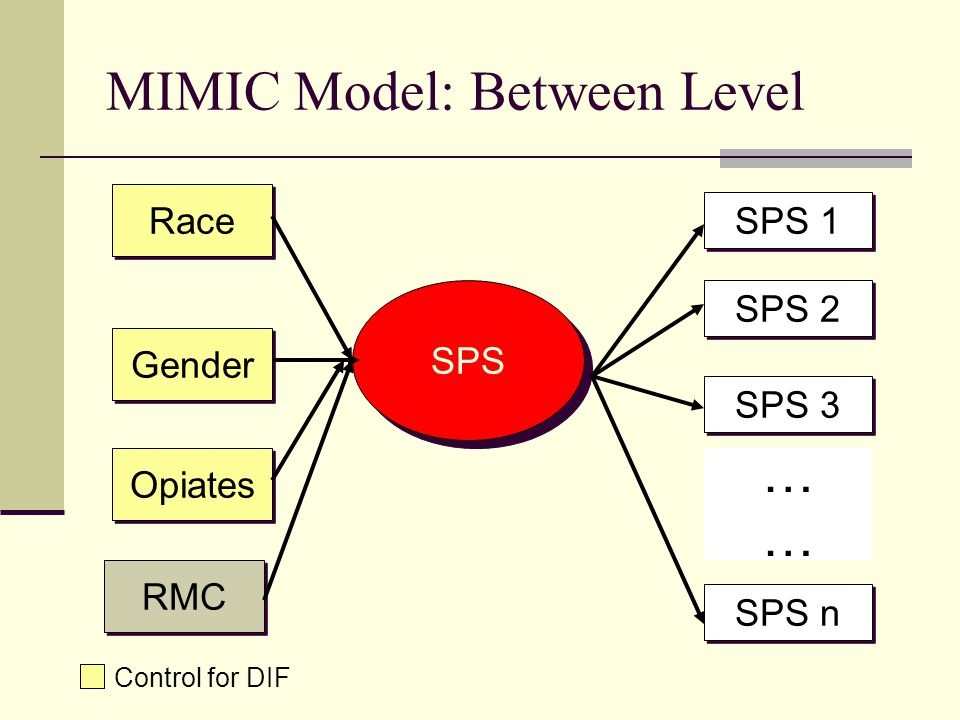 MIMIC Model: Between Level SPS Race Gender RMC SPS 1 SPS 2 SPS 3 SPS n ………… Control for DIF Opiates