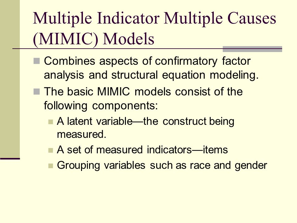 MIMIC: Limitations/Caveats In order to specify the model, at least one item must be free of DIF (or have minimal DIF).